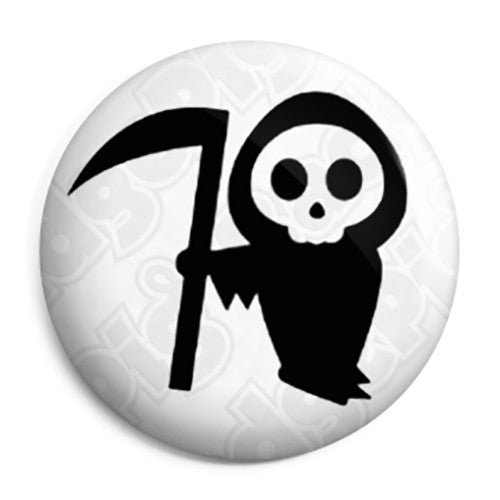 Cute Death Reaper Skull - Horror Halloween Button Badge