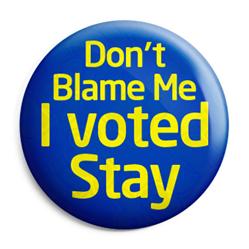 Don't Blame Me I Voted Stay EU Referendum - European Union Button Badge