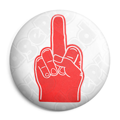 Middle Foam Hand Finger - Offensive Button Badge