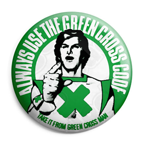 The Green Cross Code Man - Kids Retro Road Safety - Button Badge