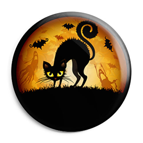 Halloween Night Cat - Trick or Treat Button Badge