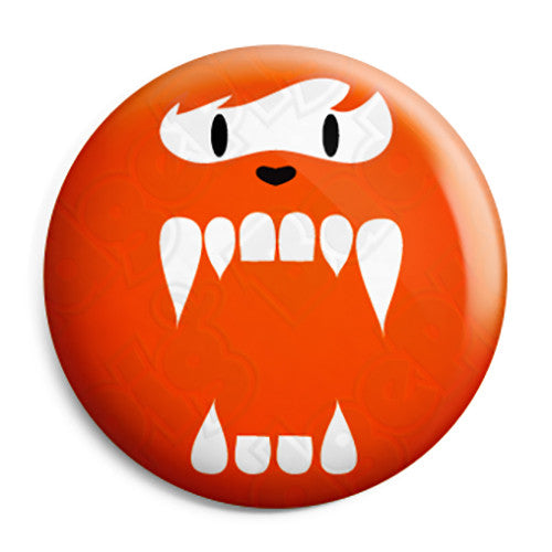 Cute Fuzzy Face Monster - Horror Trick or Treat Button Badge