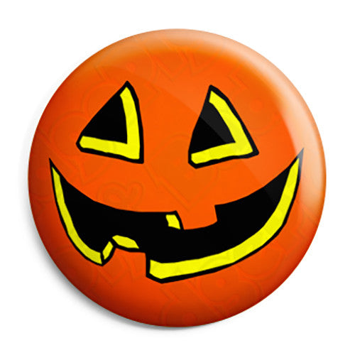 Halloween Pumpkin Face - Trick or Treat Button Badge