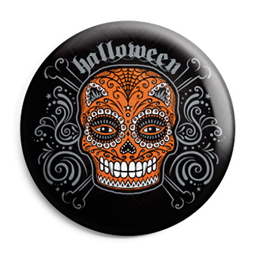 Halloween Mexican Sugar Skull - Trick or Treat Button Badge