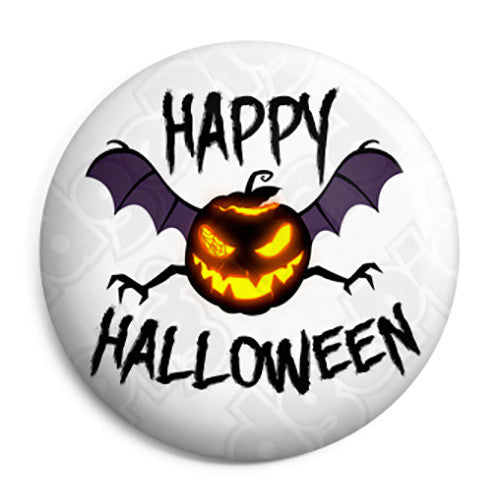 Happy Halloween Pumpkin Bat - Trick or Treat Button Badge