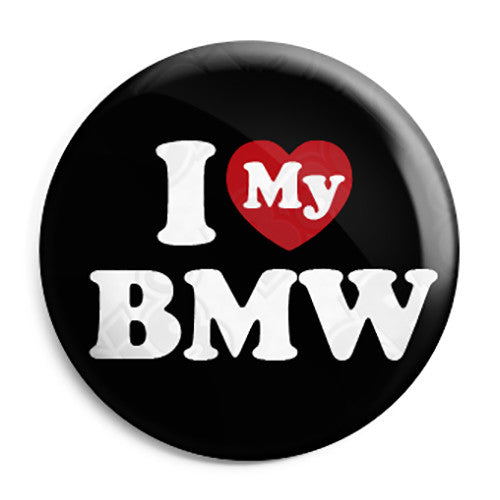 25mm Heart Car Keyrings Zip Pull Option I Love My BMW Keyring Button Badge
