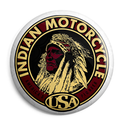 Indian Motorcycle - USA Vintage Retro Logo Button Badge