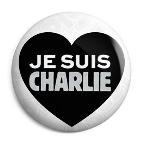 Je Suis Charlie Heart - Freedom Protest Button Badge
