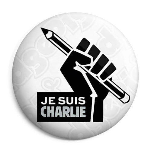Je Suis Charlie Fist & Pencil - Protest Button Badge