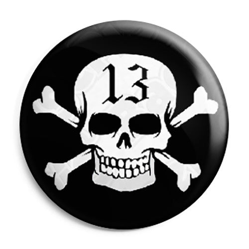 Lucky 13 Skull and Crossbones - Pirate Biker Flag Pin Button Badge