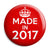 Made in 2017 - Keep Calm Birthday Year of Birth Pin Button Badge