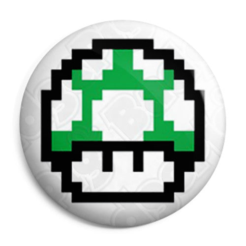 Super Mario - 8-Bit 1UP Green Mushroom Pin Button Badge