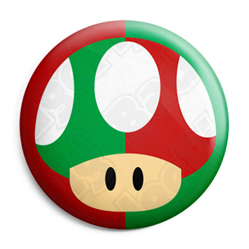Super Mario Kart - Green and Red Mushroom Pin Button Badge