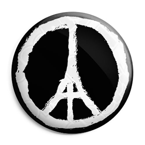 Pray for Paris Peace Sign - Eiffel Tower Logo Button Badge