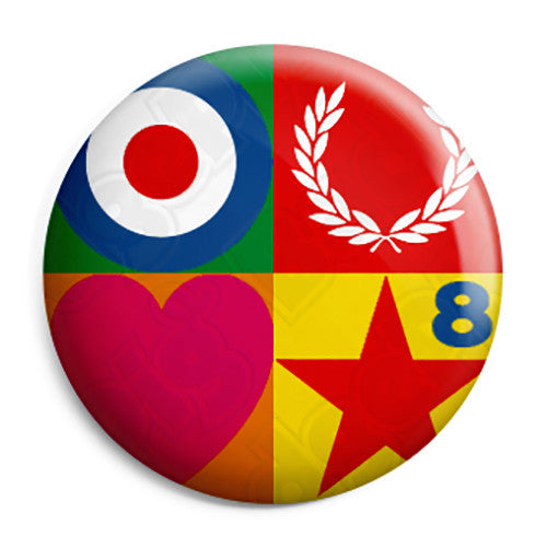 Paul Weller - Peter Blake Fed Perry Mod Logo Button Badge