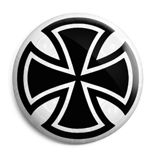 Round Iron Cross - Biker Button Badge