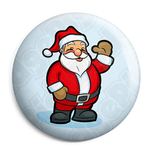 Santa Claus Cartoon Wave - Christmas Xmas Button Badge