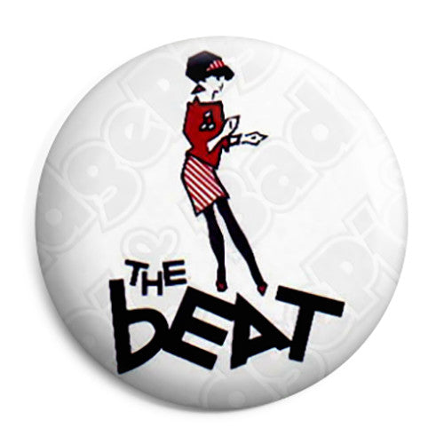 The Beat Dancing Girl Logo 25mm Ska Keyring Button Badge with Zip Pull Option