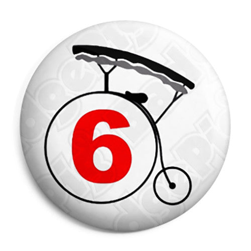 The Prisoner - Number 6 Bicycle Logo Retro TV Pin Button Badge
