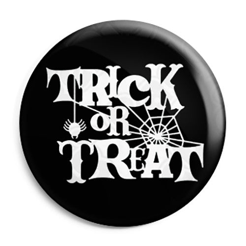 Trick or Treat Spider Web - Halloween Button Badge