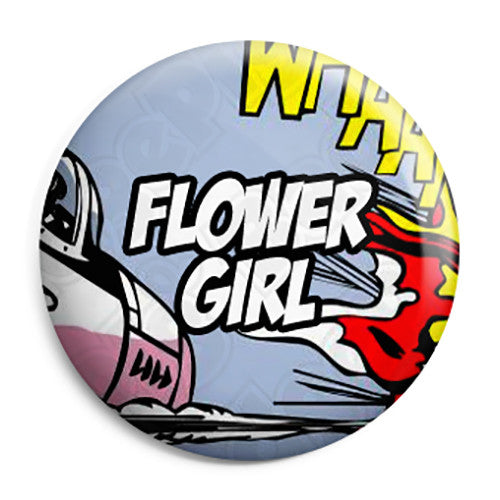 Flower Girl - Whaam Comic Art Theme Wedding Pin Button Badge