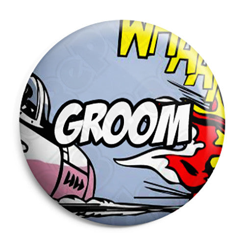 Groom - Whaam Comic Art Theme Wedding Pin Button Badge