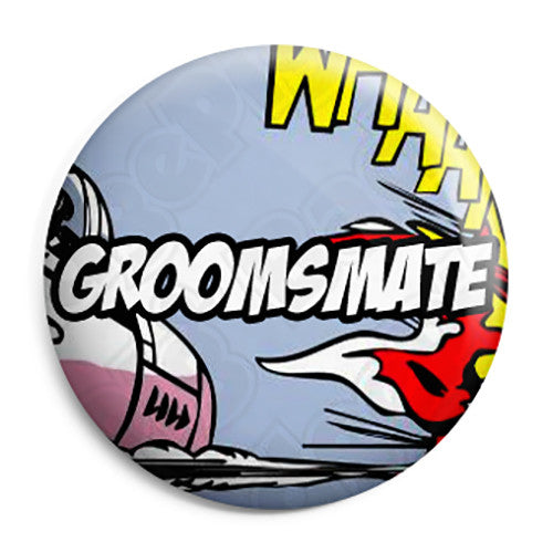 Groomsmate - Whaam Comic Art Theme Wedding Pin Button Badge