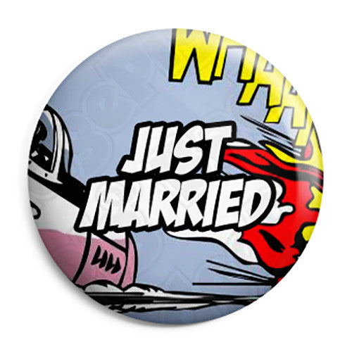 Just Married - Whaam Comic Art Theme Wedding Pin Button Badge