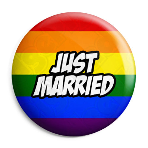 Just Married - LGBT Gay Wedding Pin Button Badge