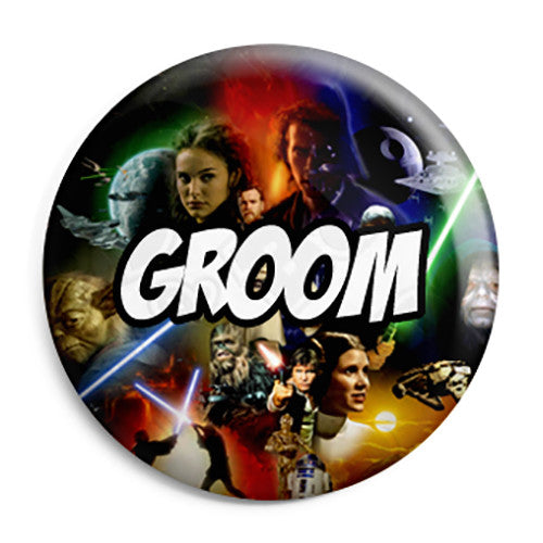 Groom - Star Wars Film Movie Theme Wedding Pin Button Badge