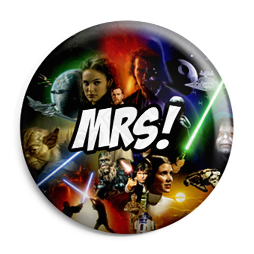 Mrs - Star Wars Film Movie Theme Wedding Pin Button Badge