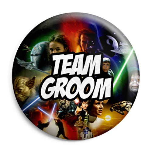 Team Groom - Star Wars Film Movie Theme Wedding Pin Button Badge