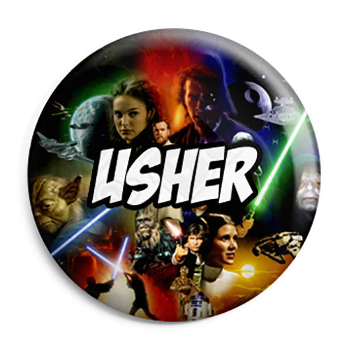 Usher - Star Wars Film Movie Theme Wedding Pin Button Badge