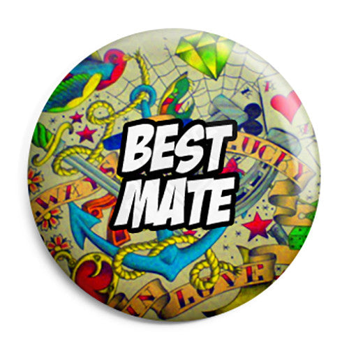 Best Mate - Tattoo Theme Wedding Pin Button Badge