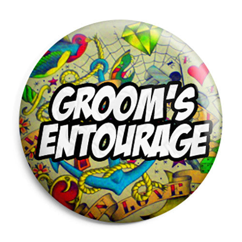 Grooms Entourage - Tattoo Theme Wedding Pin Button Badge