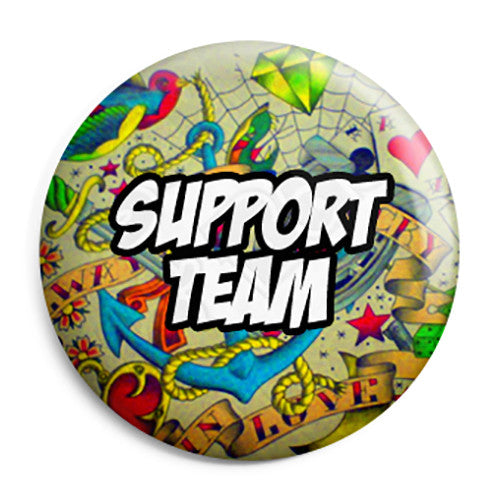 Support Team - Tattoo Themed Wedding Button Pin Badge