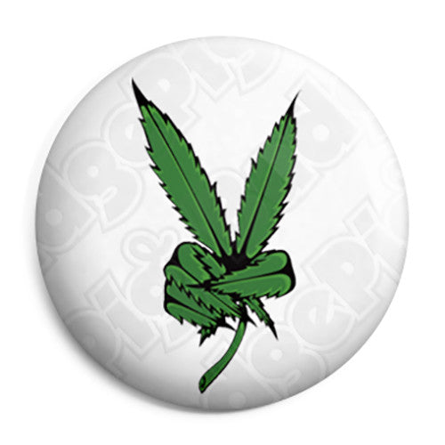 Weed Leaf Peace Sign - Cannabis Button Badge