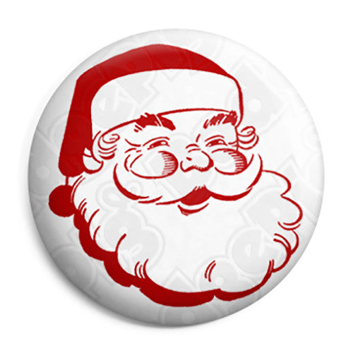 Father Christmas - Santa Claus Face Button Badge