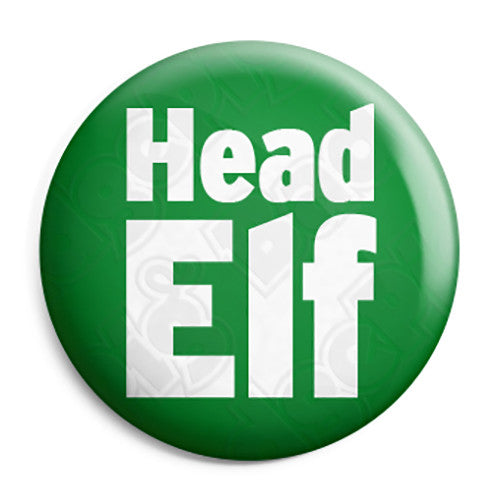 Head Elf - Christmas Xmas Santa's Grotto Worker Button Badge