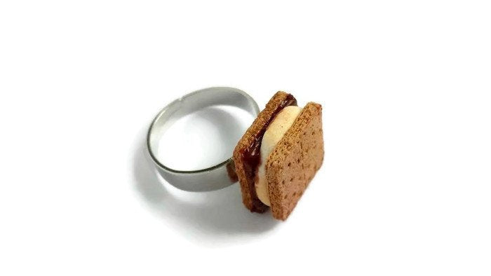 Miniature Smores Ring - Camping Scouting Tiny Food Jewelry