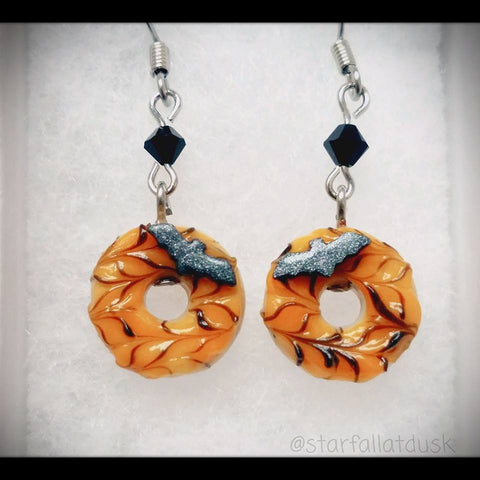Halloween bat donuts earrings