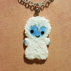 Polymer Clay Yeti Christmas Necklace - Abominable Snowman - Bumble