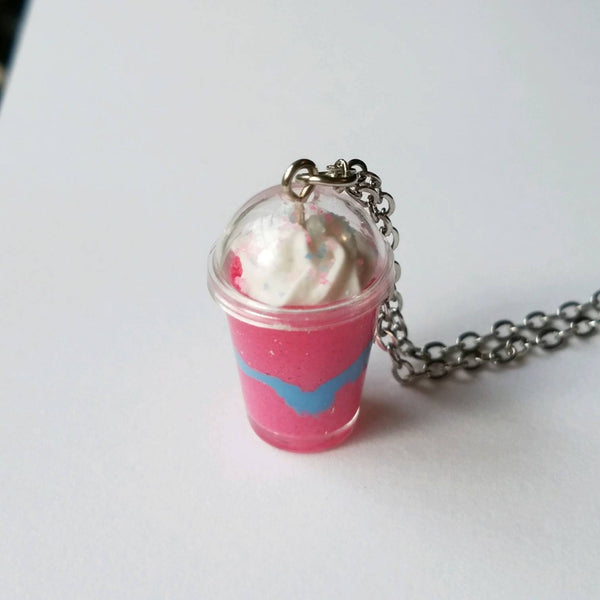 Coffee Necklace, Unicorn Drink, Food Jewelry, Mocha Latte, Milkshake Charm, Green Tea, Miniature Food, Hostess Gift, Party Favor, Frozen