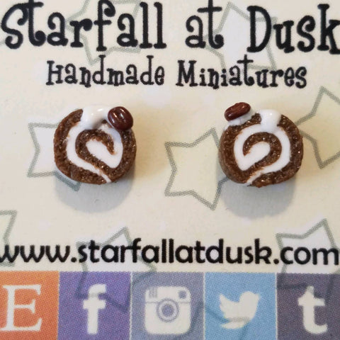 Swiss roll stud earrings
