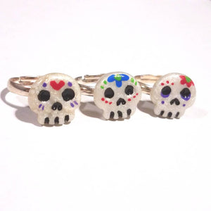 Pearl Sugar Skull Ring, Halloween jewelry, Day of the Dead