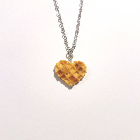 Heart Waffle Necklace - Miniature Food Jewelry - Tiny Food Jewelry