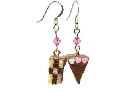 Checkerboard Cake Earrings - Pink Chocolate