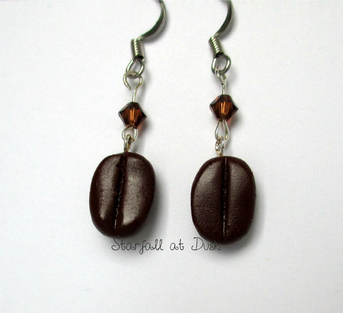 Miniature Coffee Bean Caffeine Hypoallergenic Earrings - Tiny Food Jewelry