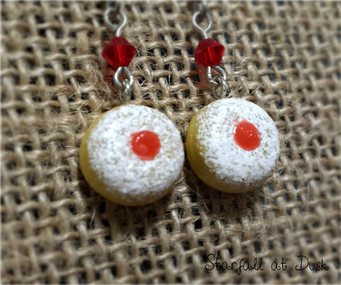 Hanukkah Sufganiyot Earrings - Jelly Powder Doughnuts
