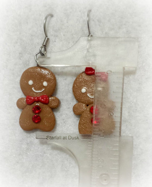 Polymer Clay Gingerbread Boy and Girl Christmas Earrings - Choose your Color